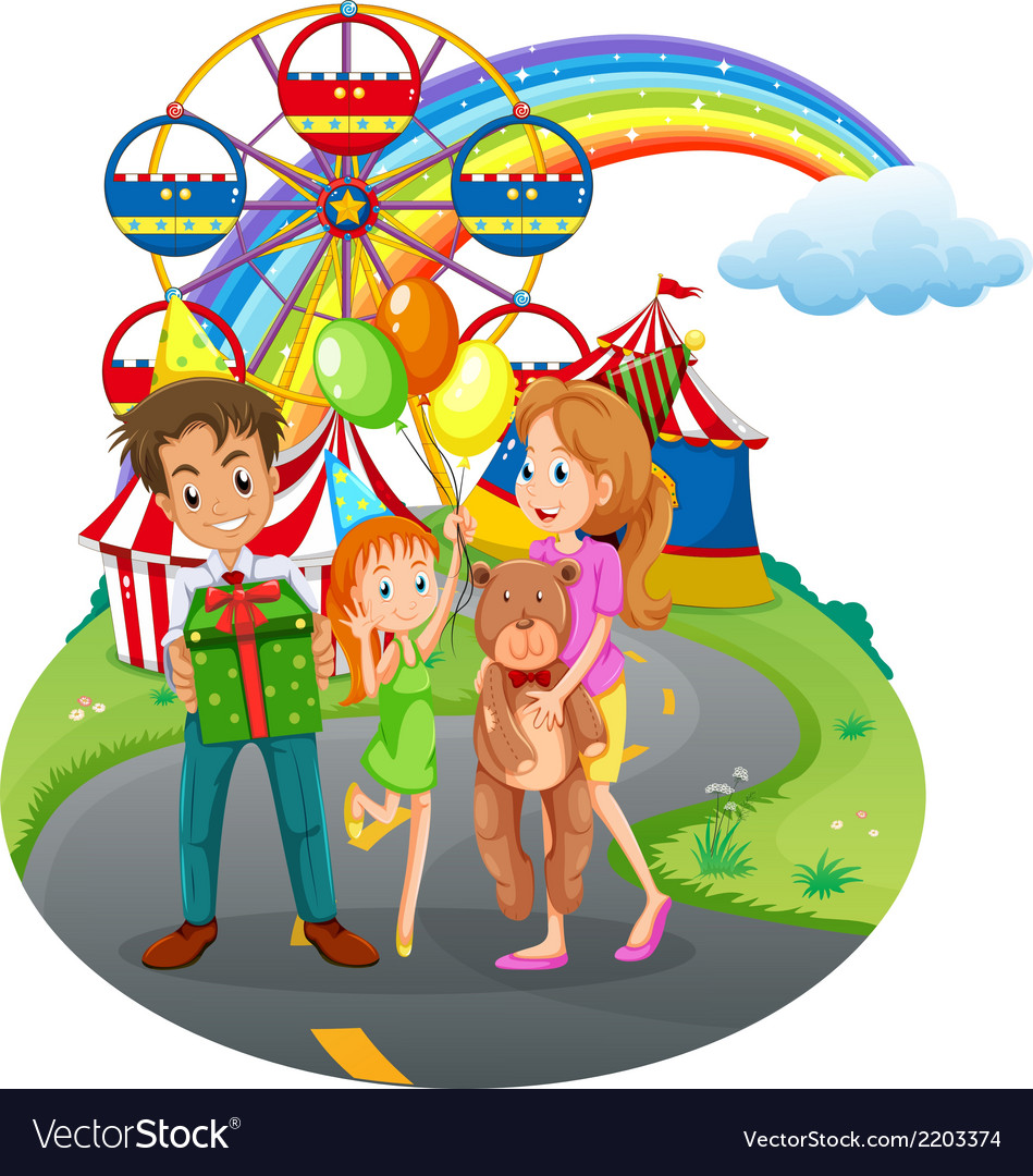 A family at the amusement park vector | Price: 3 Credit (USD $3)