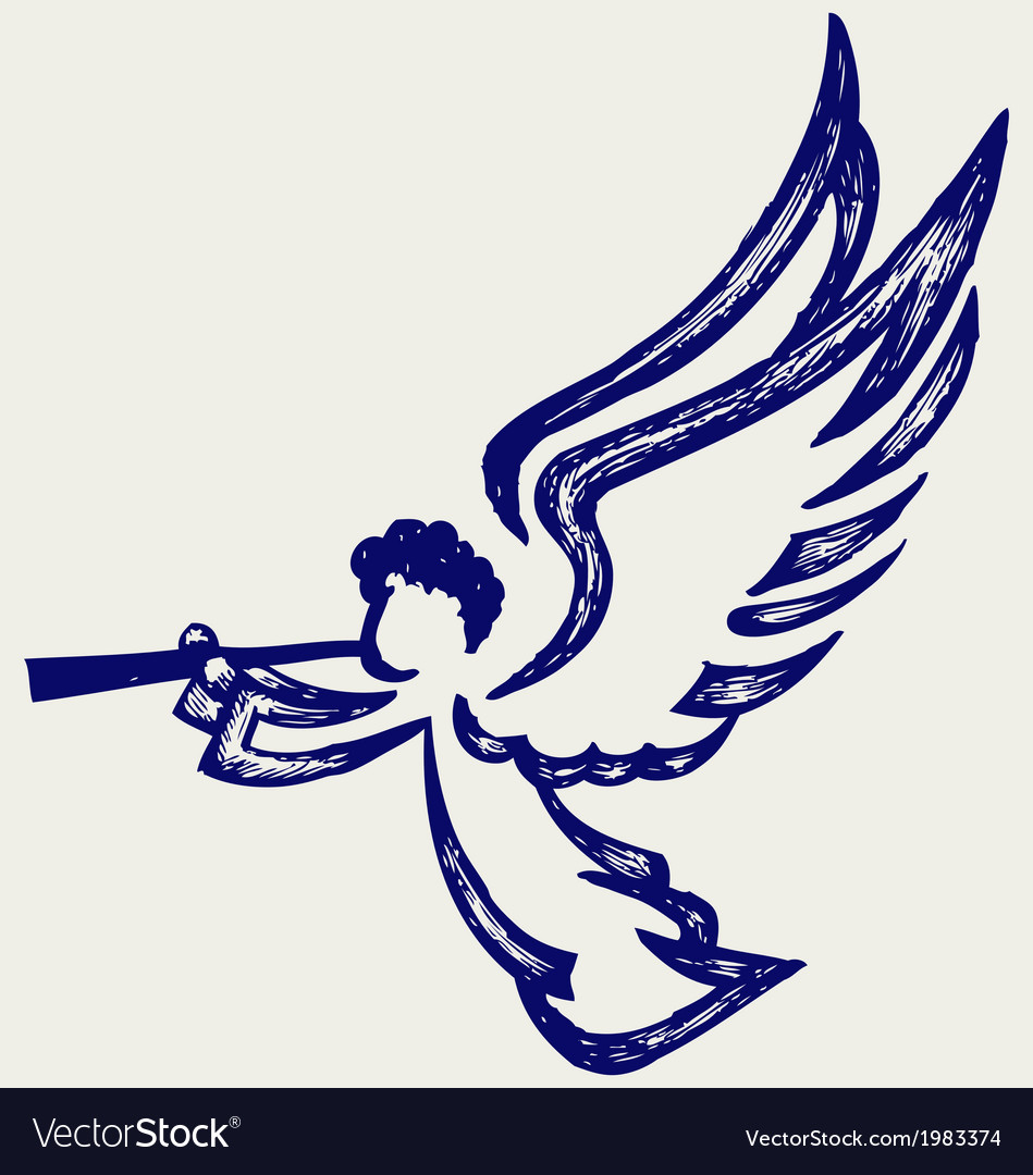 Angel with trumpet vector | Price: 1 Credit (USD $1)
