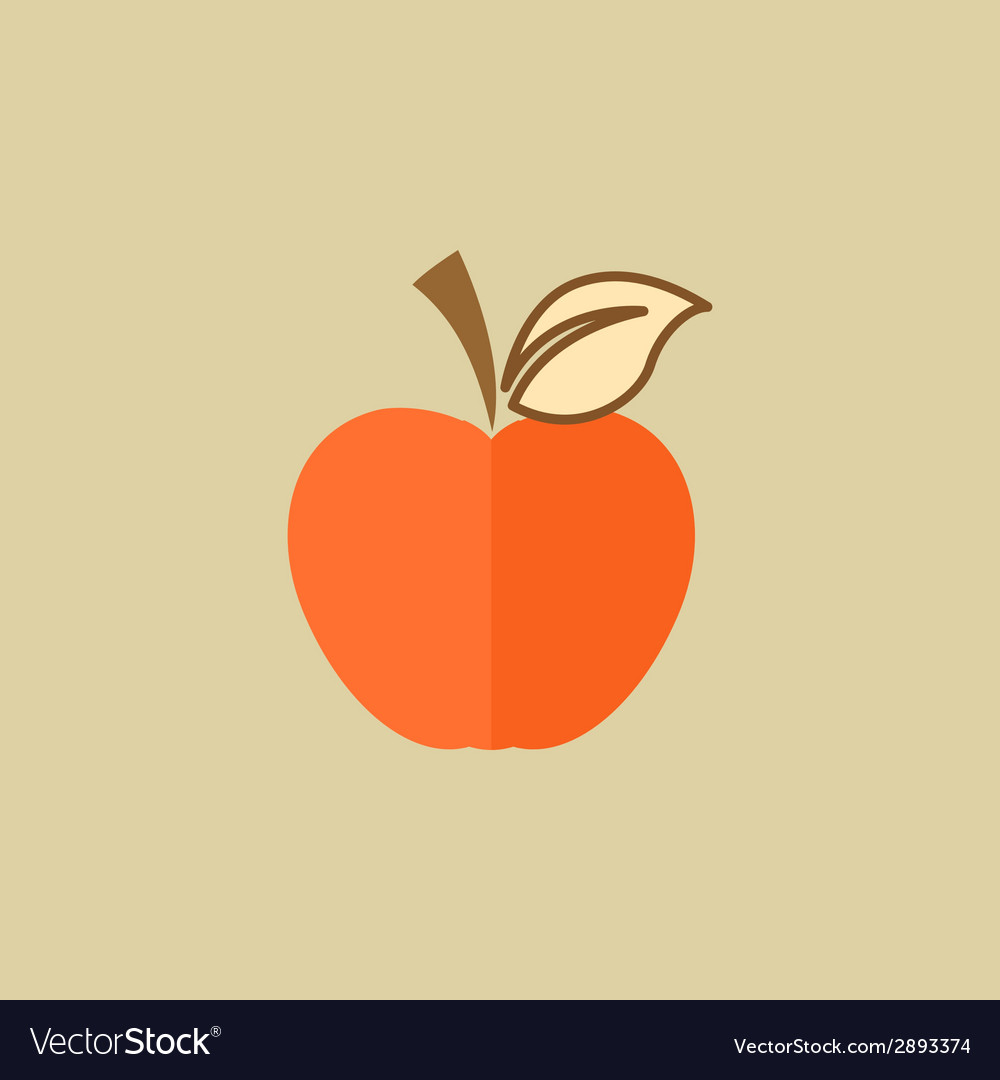 Apple food flat icon vector | Price: 1 Credit (USD $1)