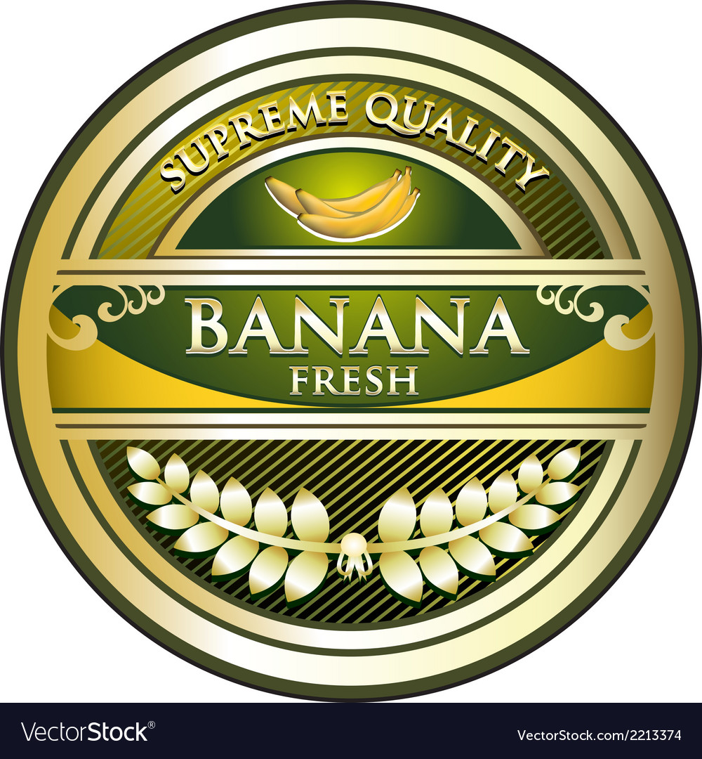 Banana gold vintage label vector | Price: 1 Credit (USD $1)