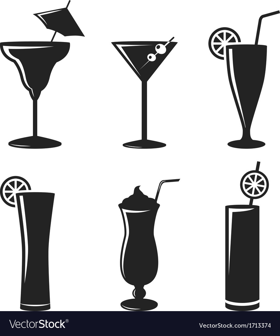 Cocktail drinks black web icon set vector | Price: 1 Credit (USD $1)