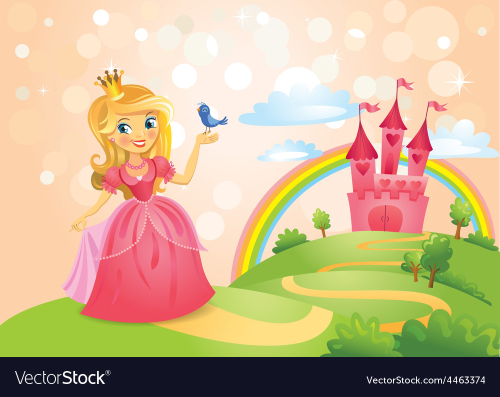 Fairy tale castle and beautiful princess vector | Price: 3 Credit (USD $3)