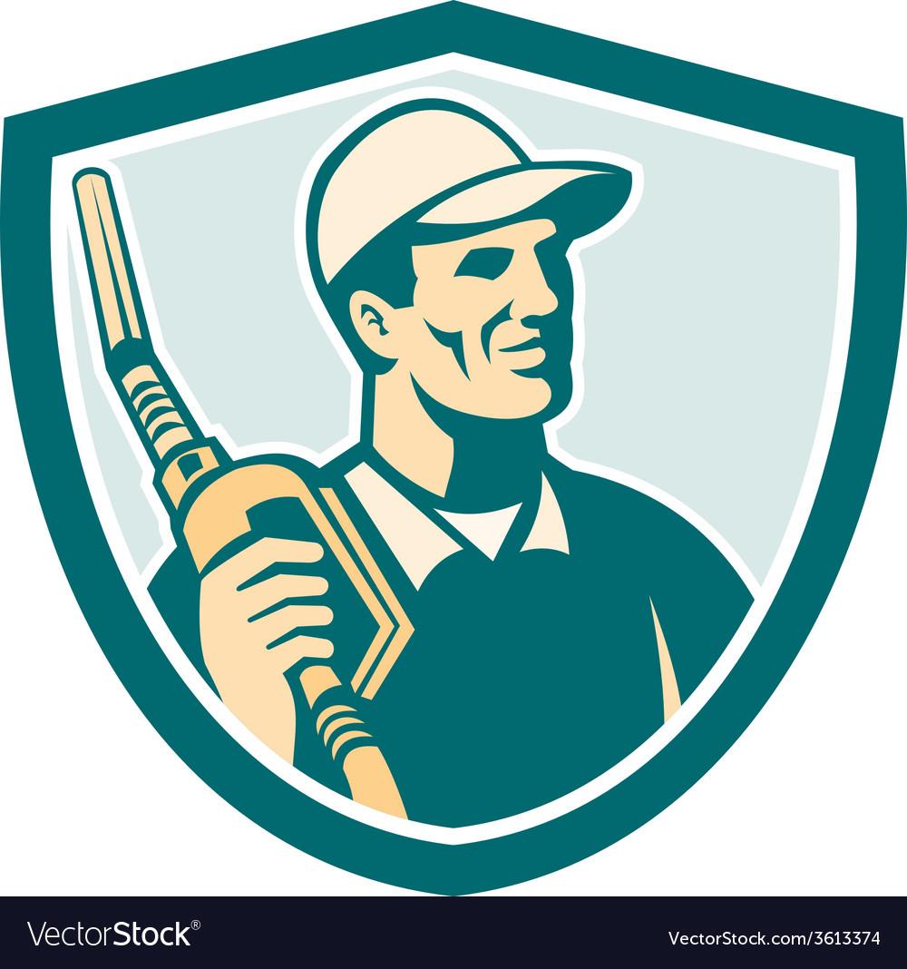 Gasoline attendant fuel pump nozzle shield vector | Price: 1 Credit (USD $1)