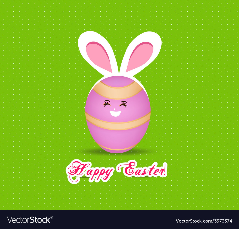 Happy easter eggs with rabbit ears vector | Price: 1 Credit (USD $1)