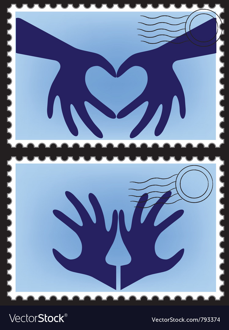 Heart hands stamps vector | Price: 1 Credit (USD $1)