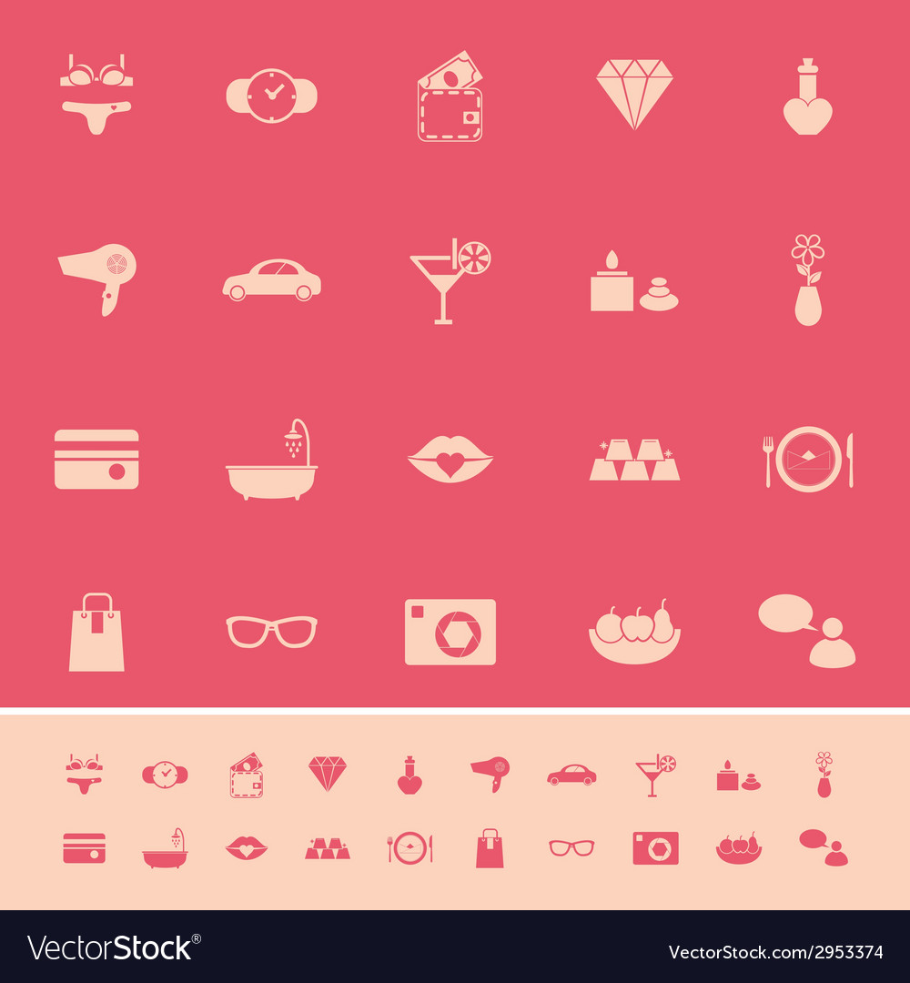 Lady related item color icons on pink background vector | Price: 1 Credit (USD $1)