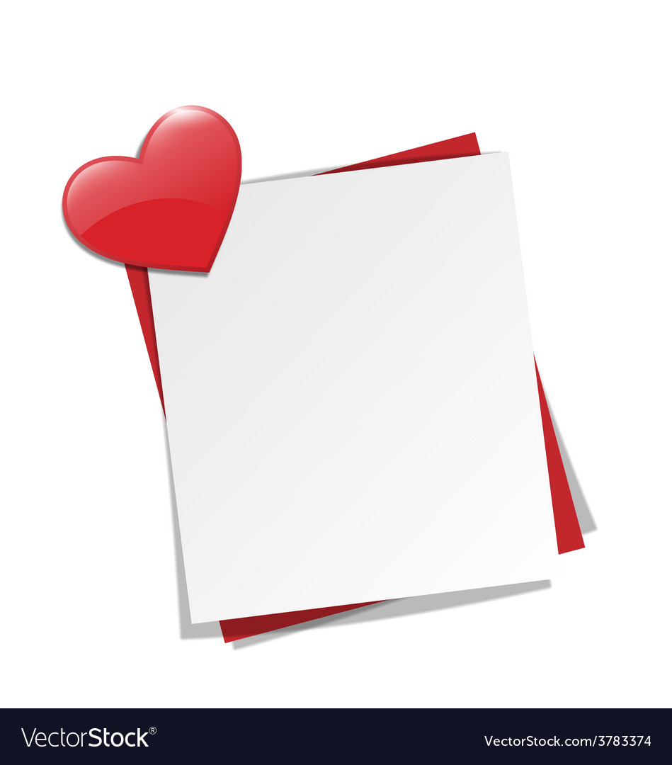 Love paper note on wall with red heart magnet vector | Price: 1 Credit (USD $1)