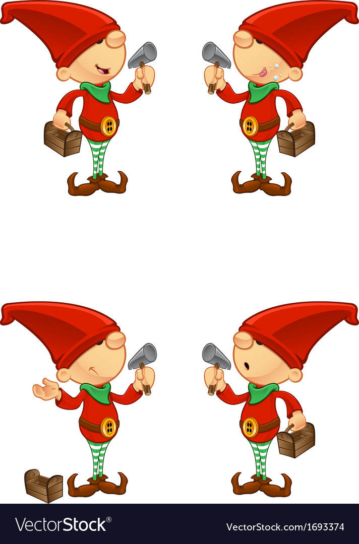 Red elf hammer toolbox vector | Price: 1 Credit (USD $1)