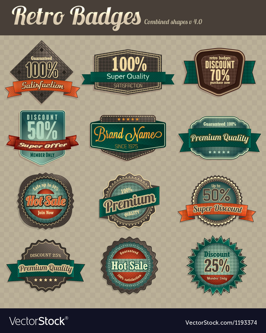 Retro badges combined vector | Price: 1 Credit (USD $1)