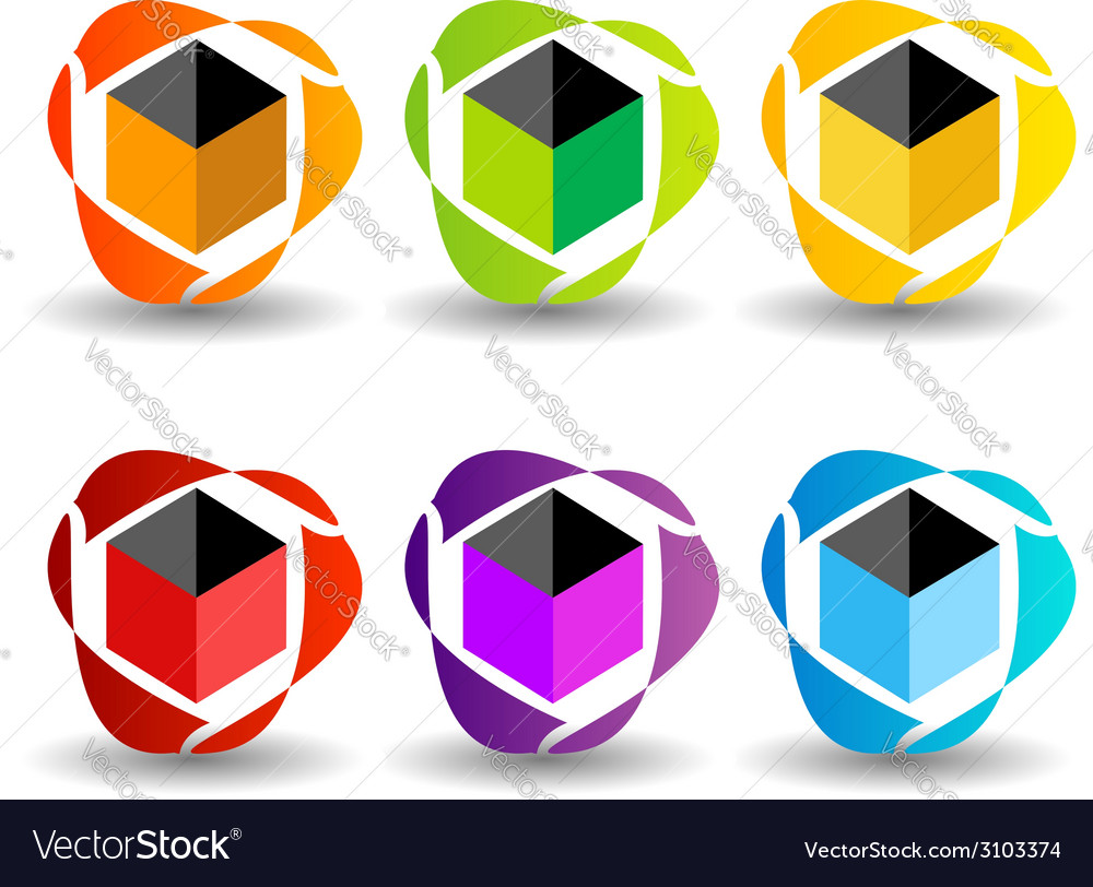 Set of business logos in different colors vector | Price: 1 Credit (USD $1)