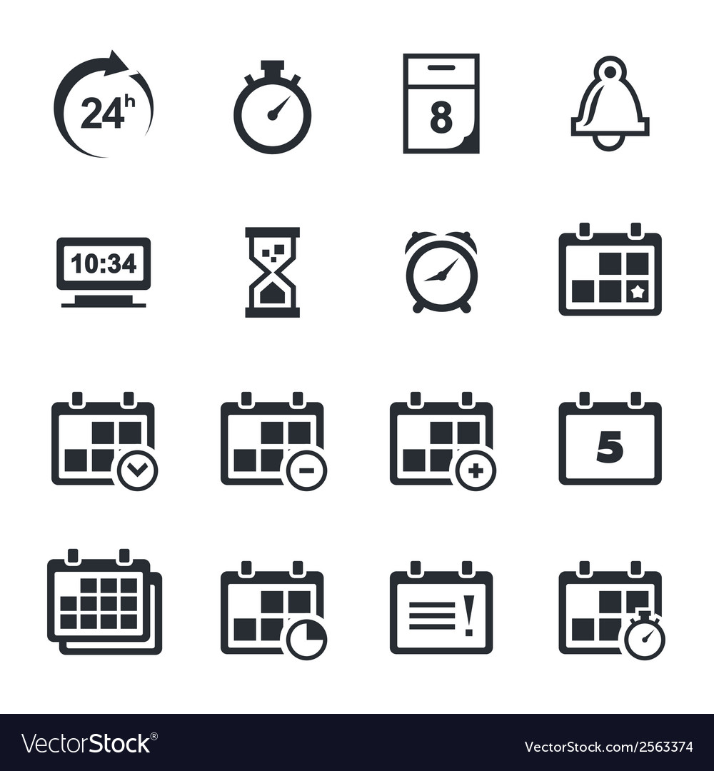 Time icons set vector | Price: 1 Credit (USD $1)