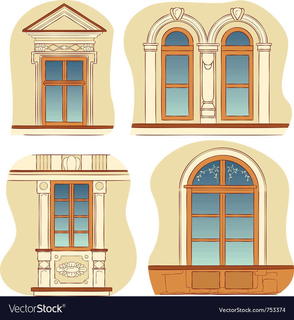 Windows of old city houses vector | Price: 1 Credit (USD $1)