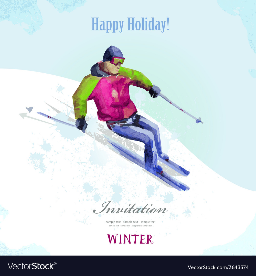 Winter sport watercolor skier vintage poster for vector | Price: 1 Credit (USD $1)