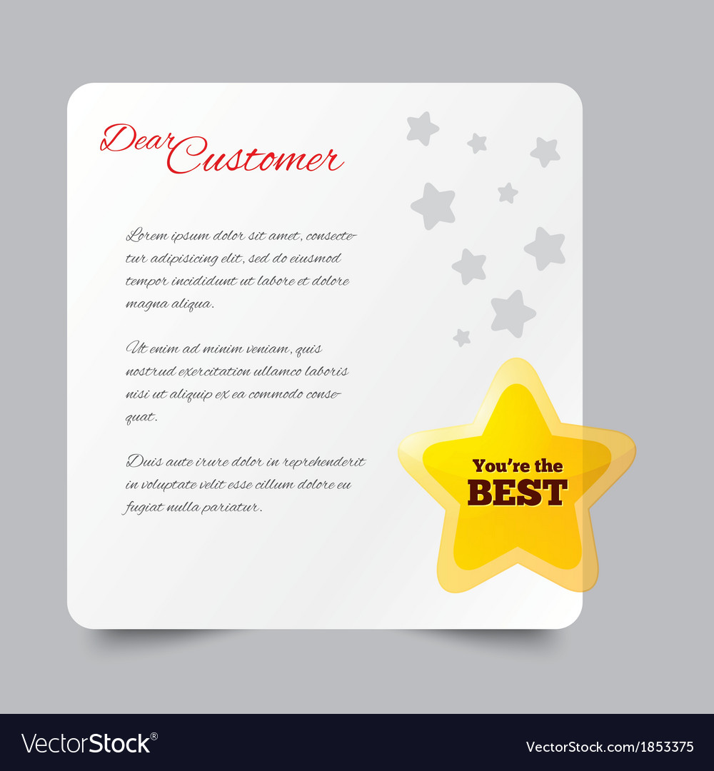 Customer service letter thank you for buying vector | Price: 1 Credit (USD $1)