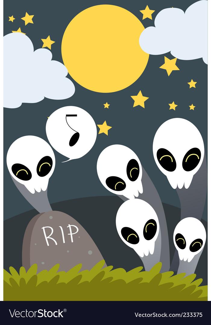 Halloween graveyard vector | Price: 1 Credit (USD $1)