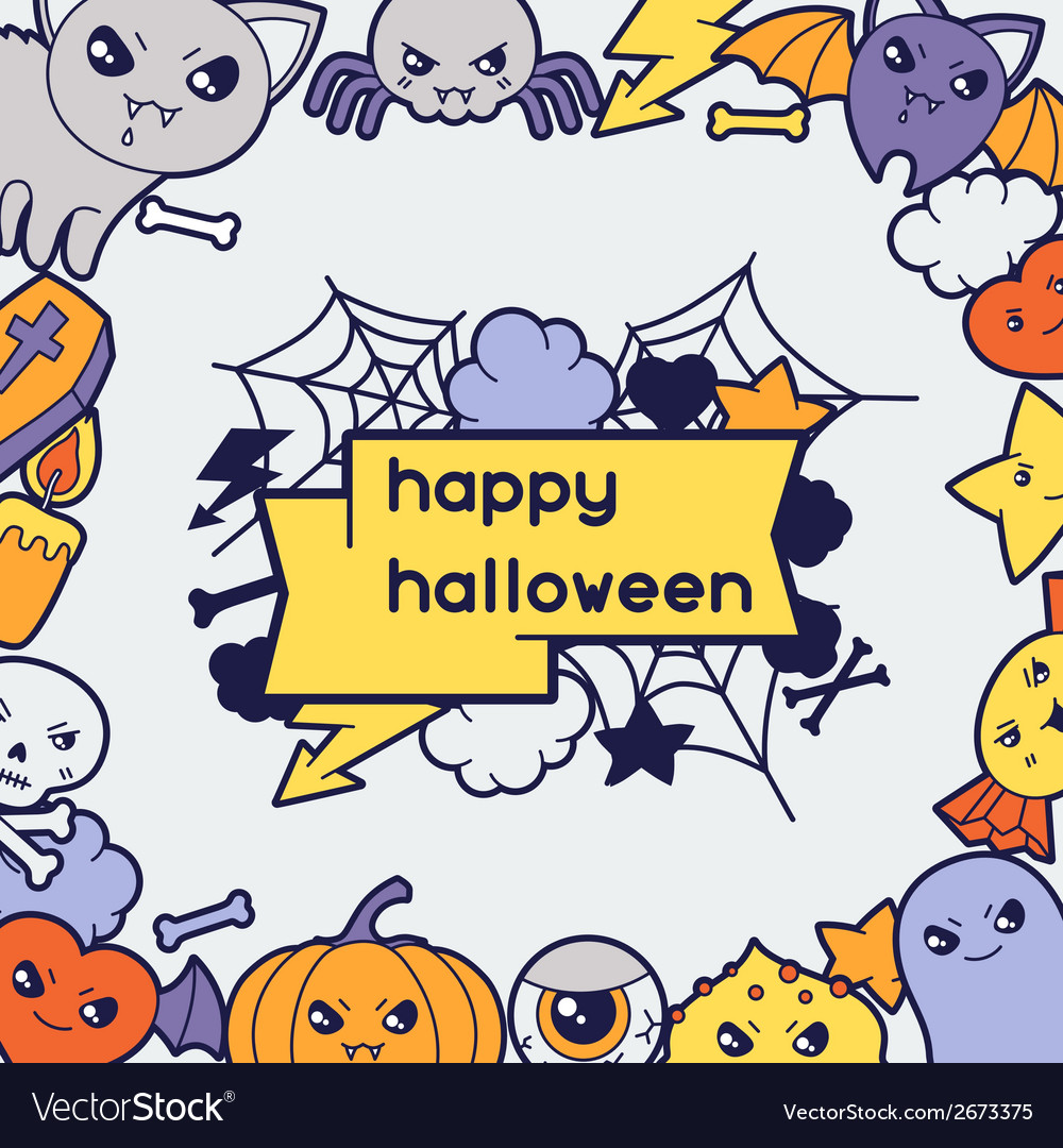 Halloween kawaii greeting card with cute doodles vector | Price: 1 Credit (USD $1)