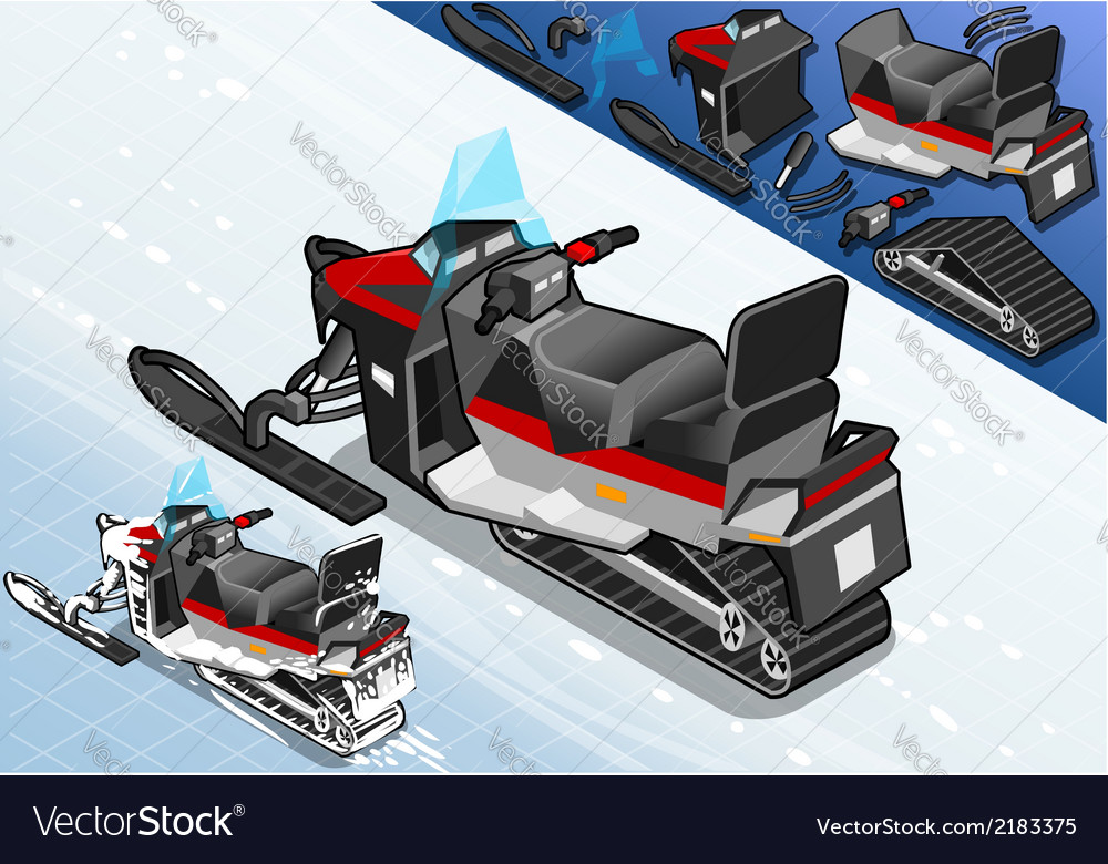 Isometric snowmobile in rear view vector | Price: 1 Credit (USD $1)