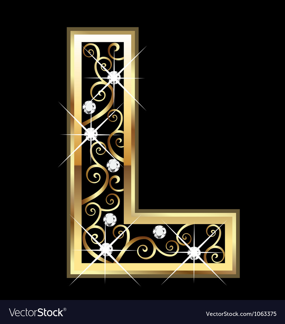 L gold letter with swirly ornaments vector | Price: 1 Credit (USD $1)