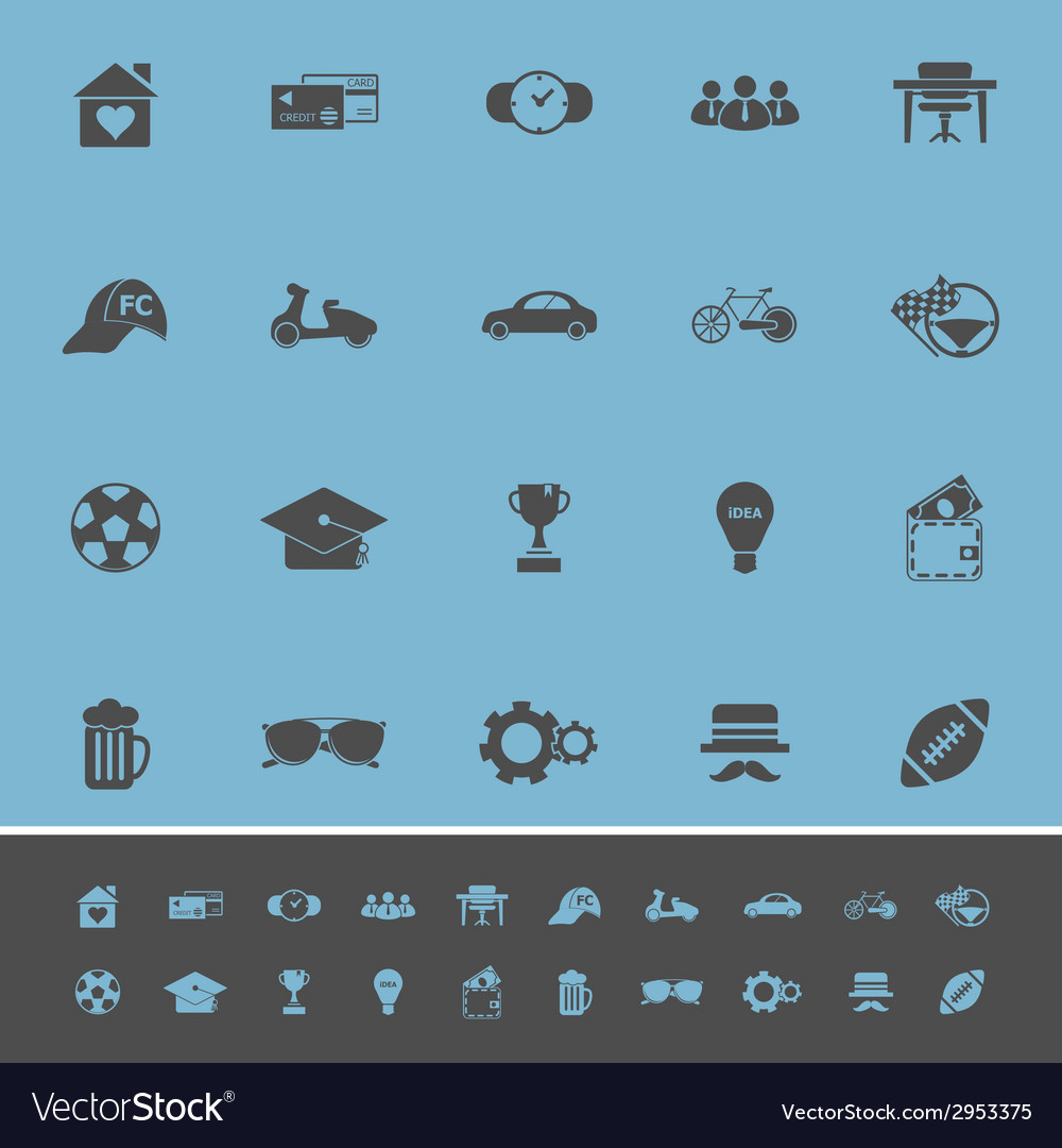 Normal gentleman color icons on blue background vector | Price: 1 Credit (USD $1)