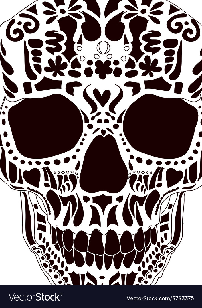 Ornamental scull as abstract floral vector | Price: 1 Credit (USD $1)