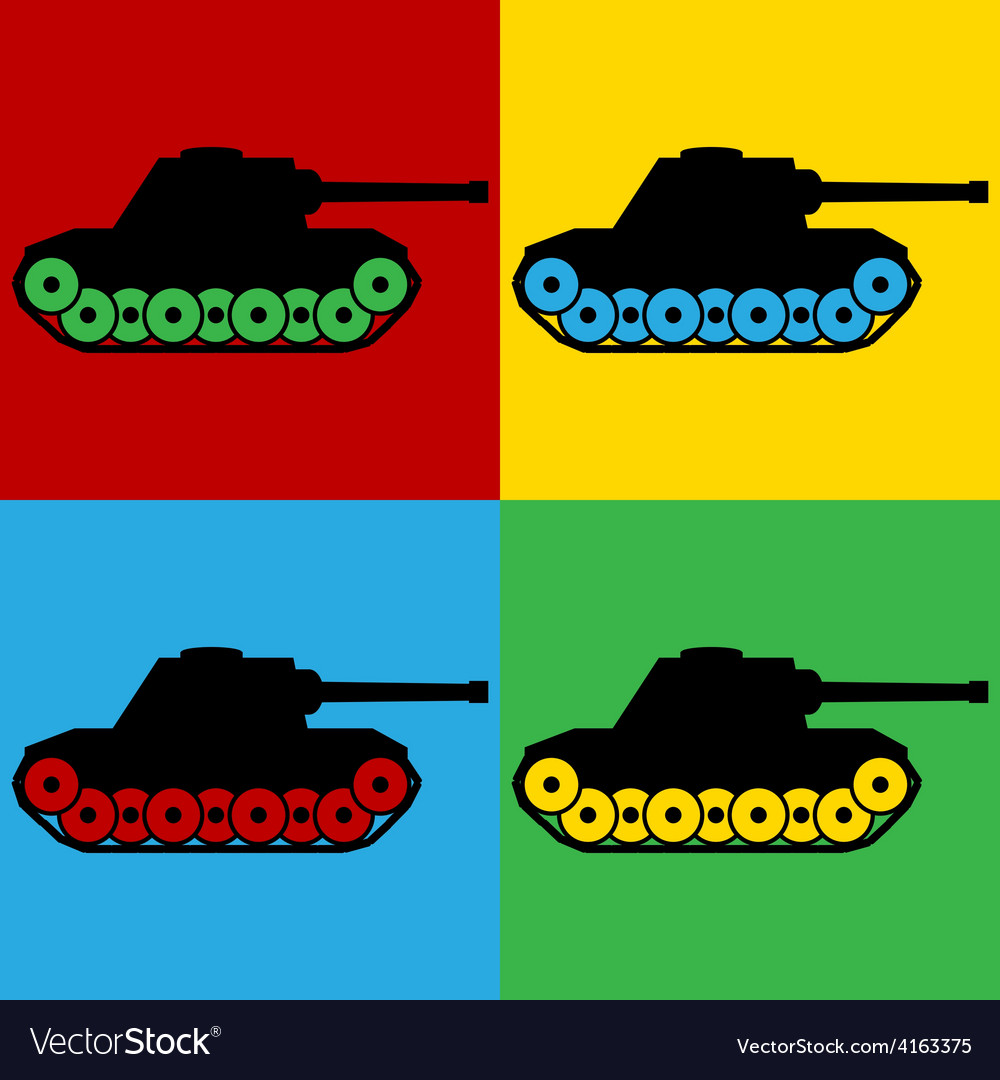 Pop art panzer icons vector | Price: 1 Credit (USD $1)