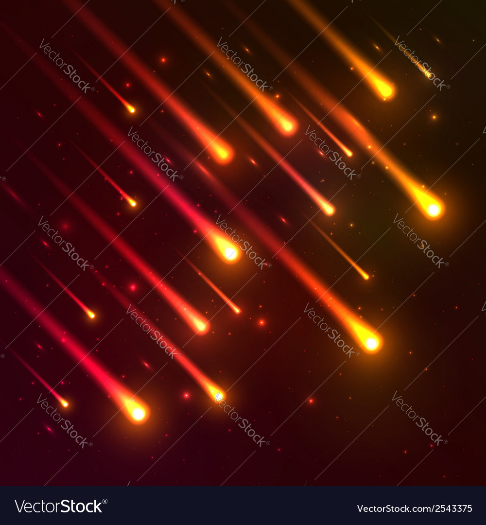 Red falling meteors background vector