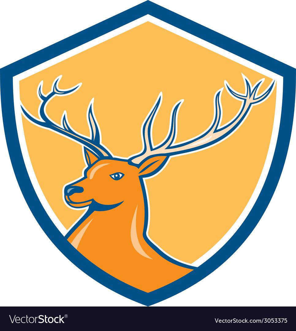 Red stag deer head shield cartoon vector | Price: 1 Credit (USD $1)