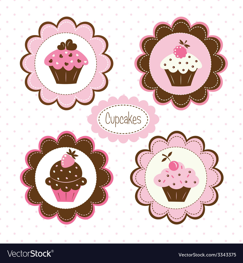 Set of cupcakes labels vector | Price: 1 Credit (USD $1)