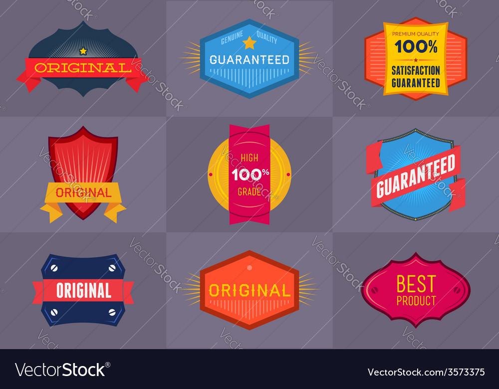 Set of flat original and premium labels vector | Price: 1 Credit (USD $1)
