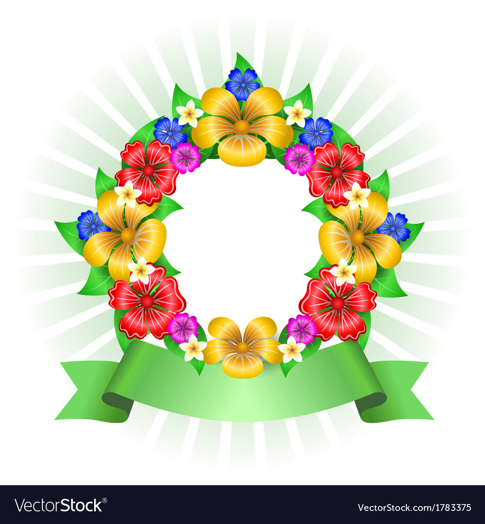 Tropical flowers wreath frame vector | Price: 1 Credit (USD $1)