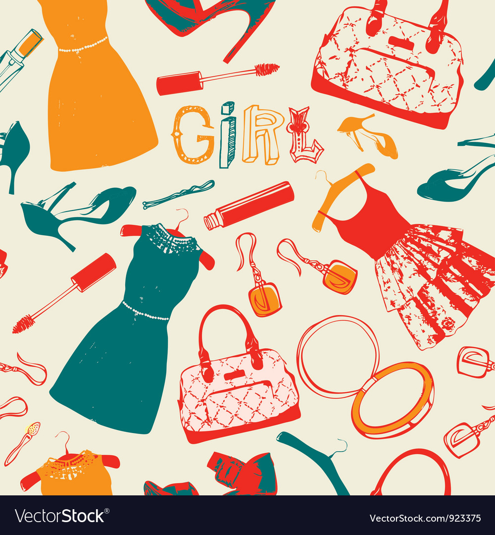 Vintage fashion pattern background vector | Price: 1 Credit (USD $1)