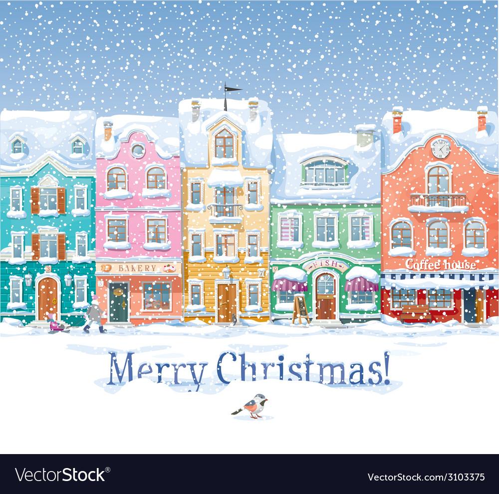 Winter cityscape 3 vector | Price: 3 Credit (USD $3)