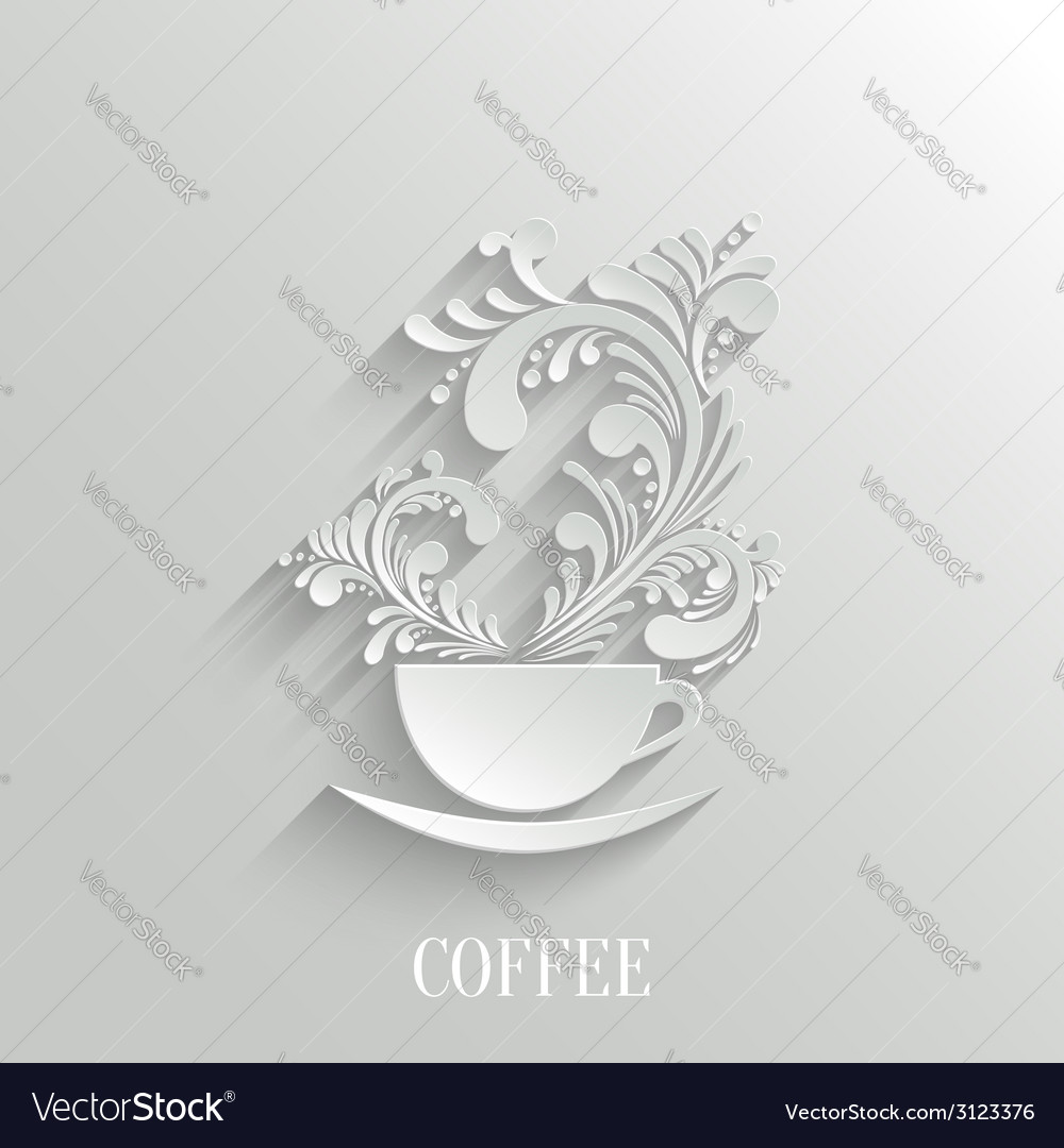 Abstract 3d cup of coffee with floral aroma vector | Price: 1 Credit (USD $1)