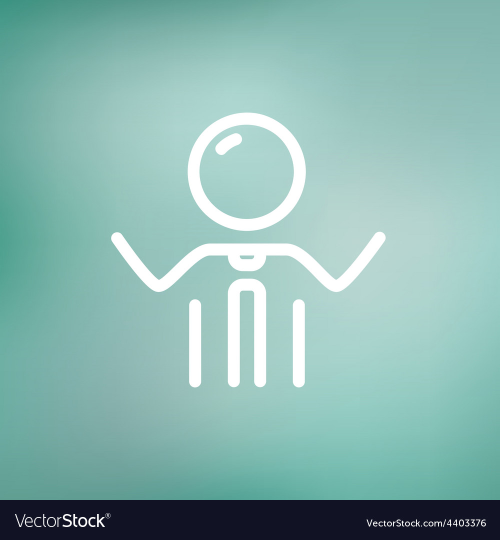 Businessman raising his arms thin line icon vector | Price: 1 Credit (USD $1)
