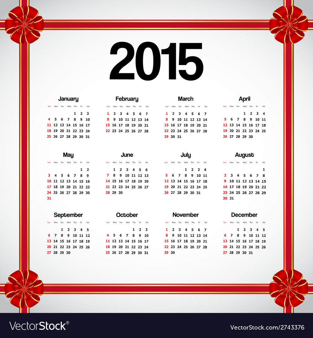 Calendar 2015 with bows vector | Price: 1 Credit (USD $1)