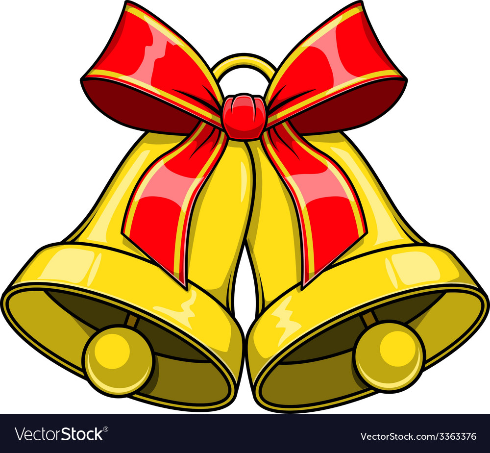Christmas decorative bells with red bow vector   Price: 1 Credit (USD $1)