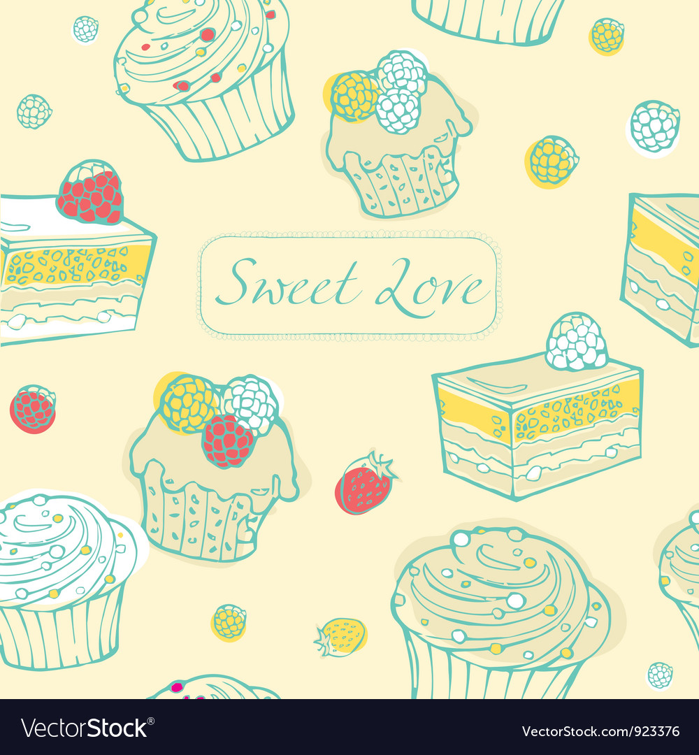 Cupcakes background vector | Price: 1 Credit (USD $1)