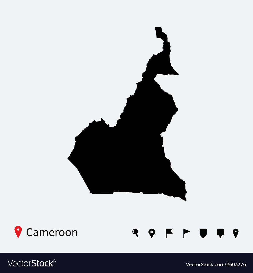 High detailed map of cameroon with navigation pins vector | Price: 1 Credit (USD $1)