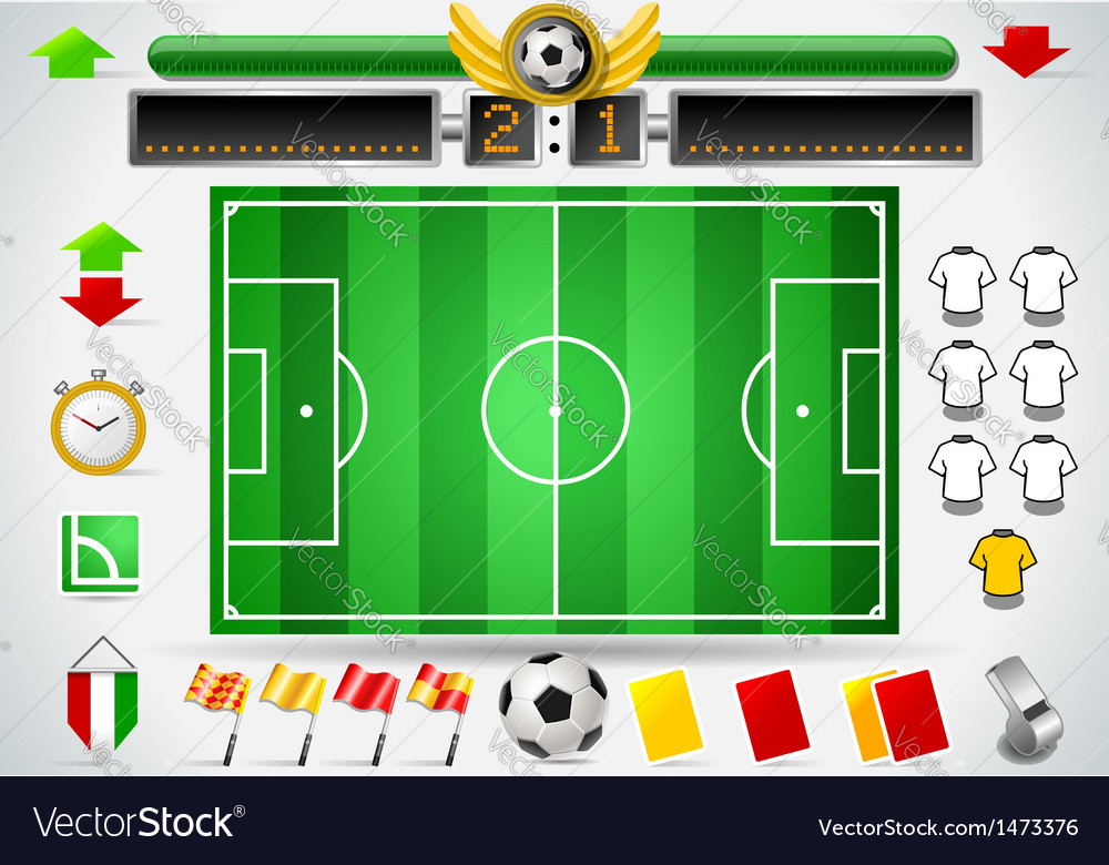 Info graphic set of soccer field and icons vector | Price: 1 Credit (USD $1)