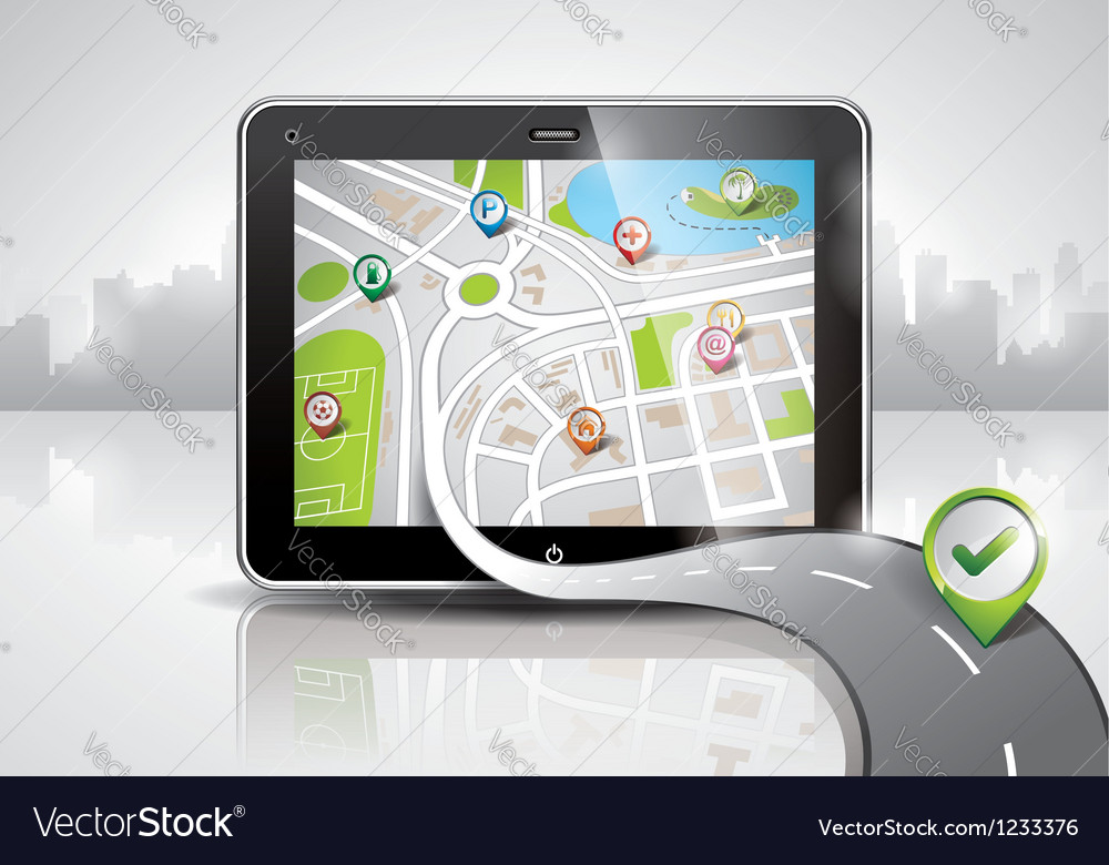 Map with shiny pda device vector | Price: 3 Credit (USD $3)