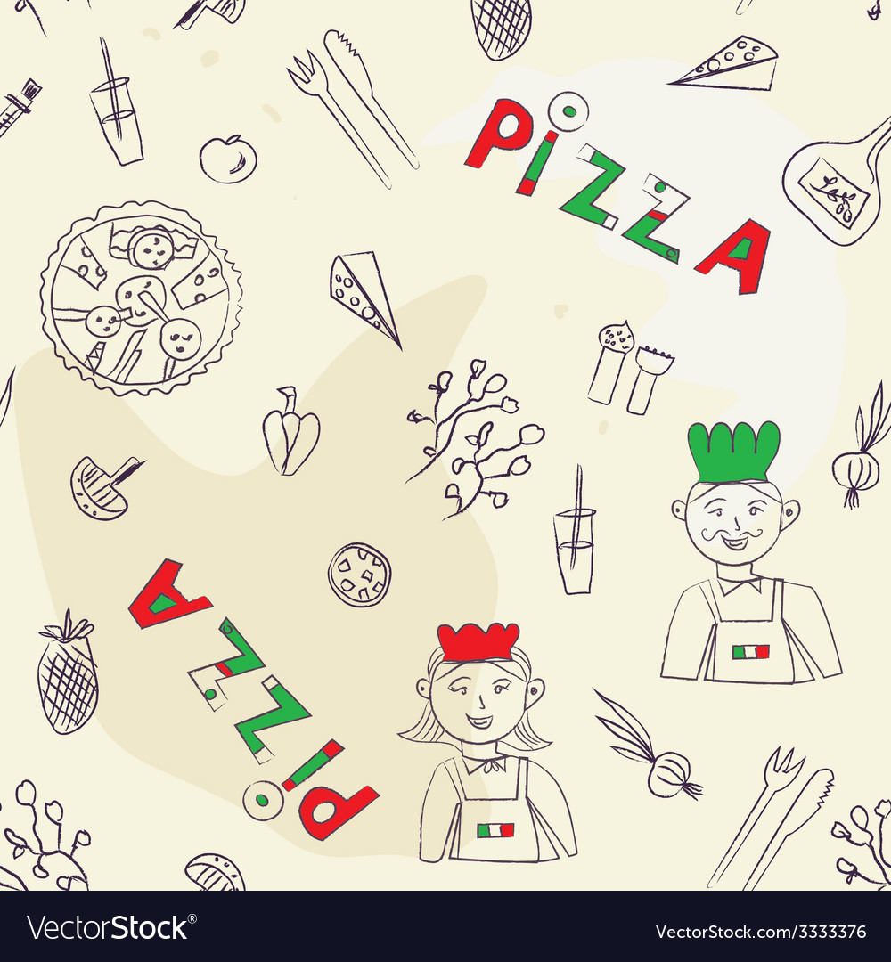 Pizza seamless pattern - hand drawn vector | Price: 1 Credit (USD $1)