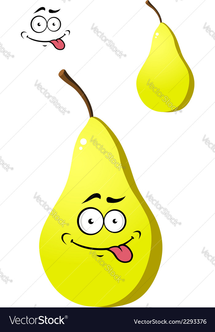 Ripe fresh yellow pear with a goofy face vector | Price: 1 Credit (USD $1)