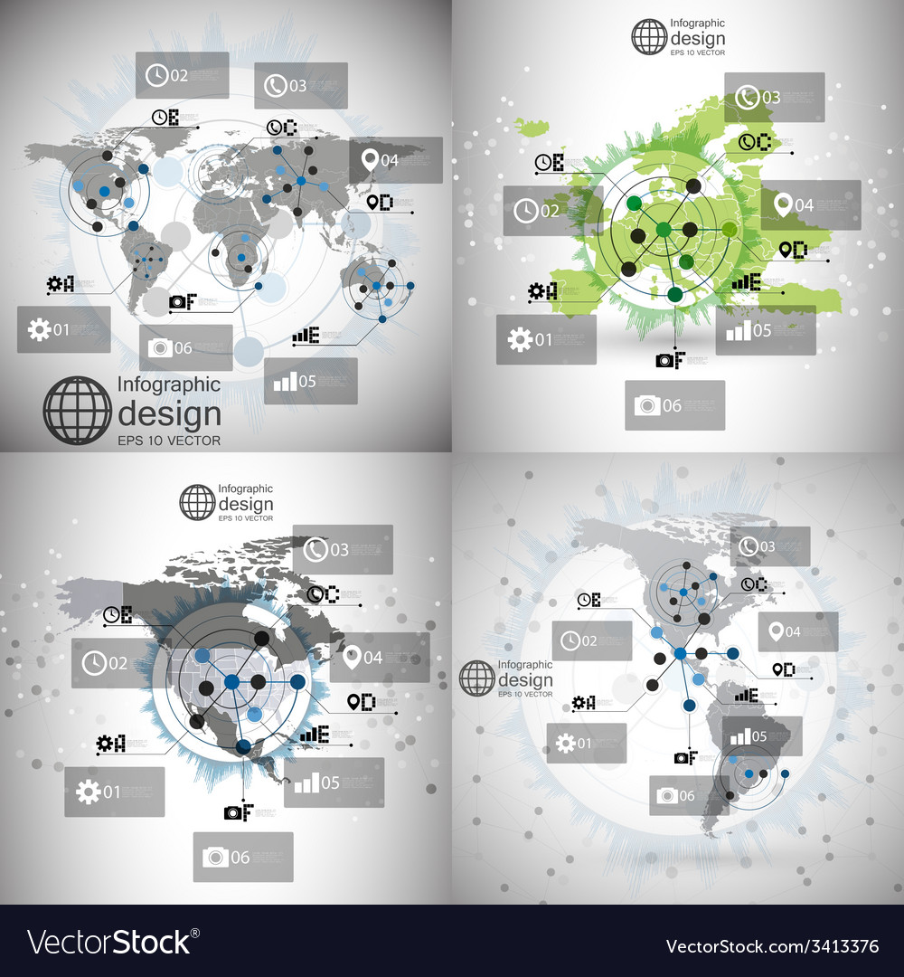 World maps set infographic templates for business vector | Price: 1 Credit (USD $1)