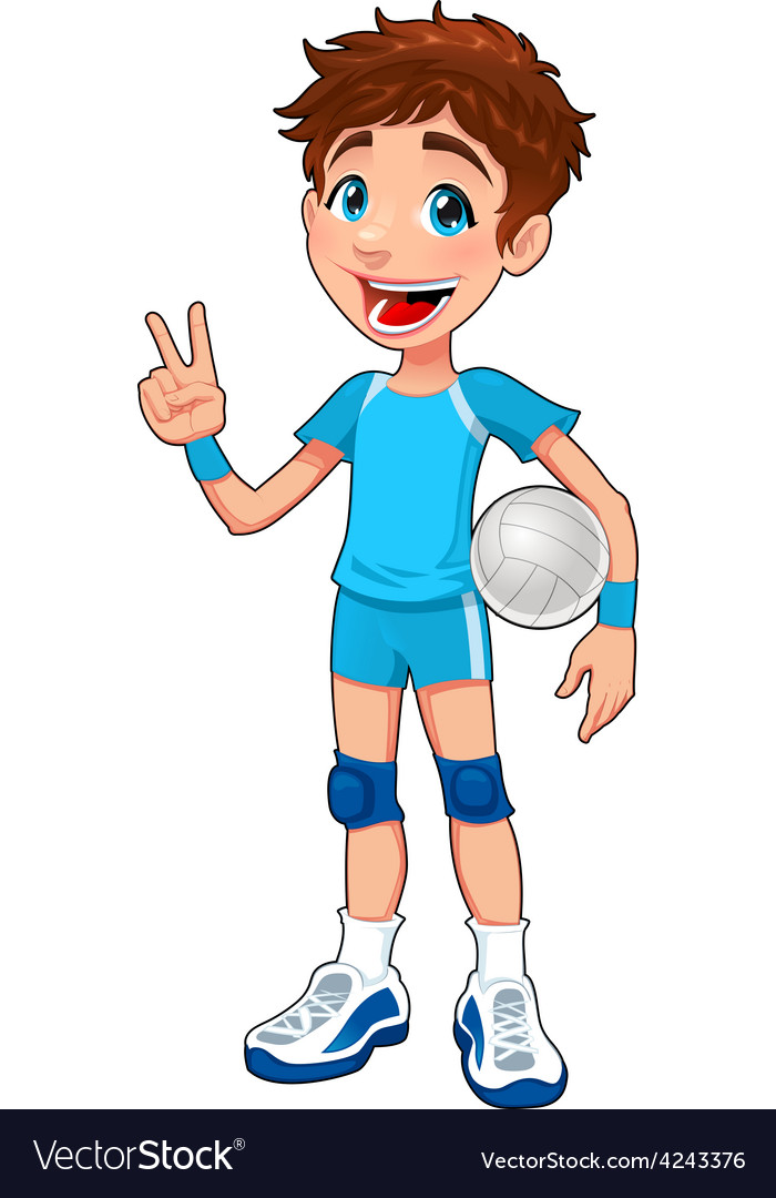 Young volleyball player vector | Price: 1 Credit (USD $1)