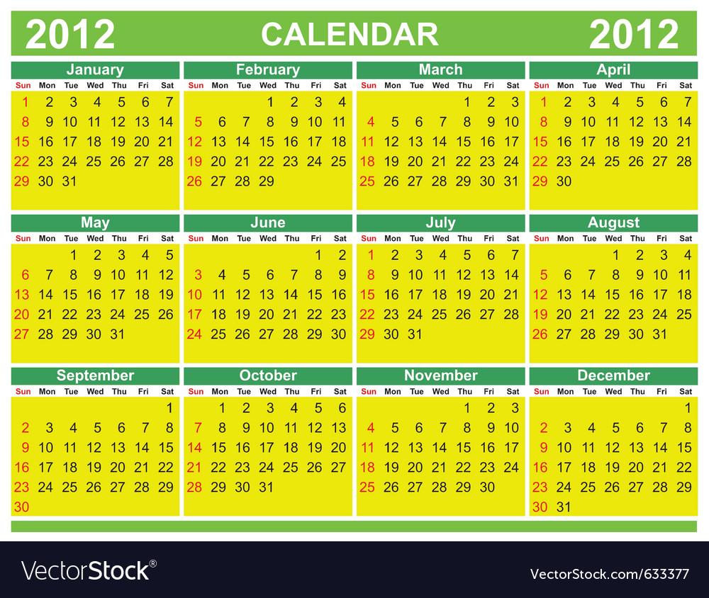2012 calendars vector | Price: 1 Credit (USD $1)