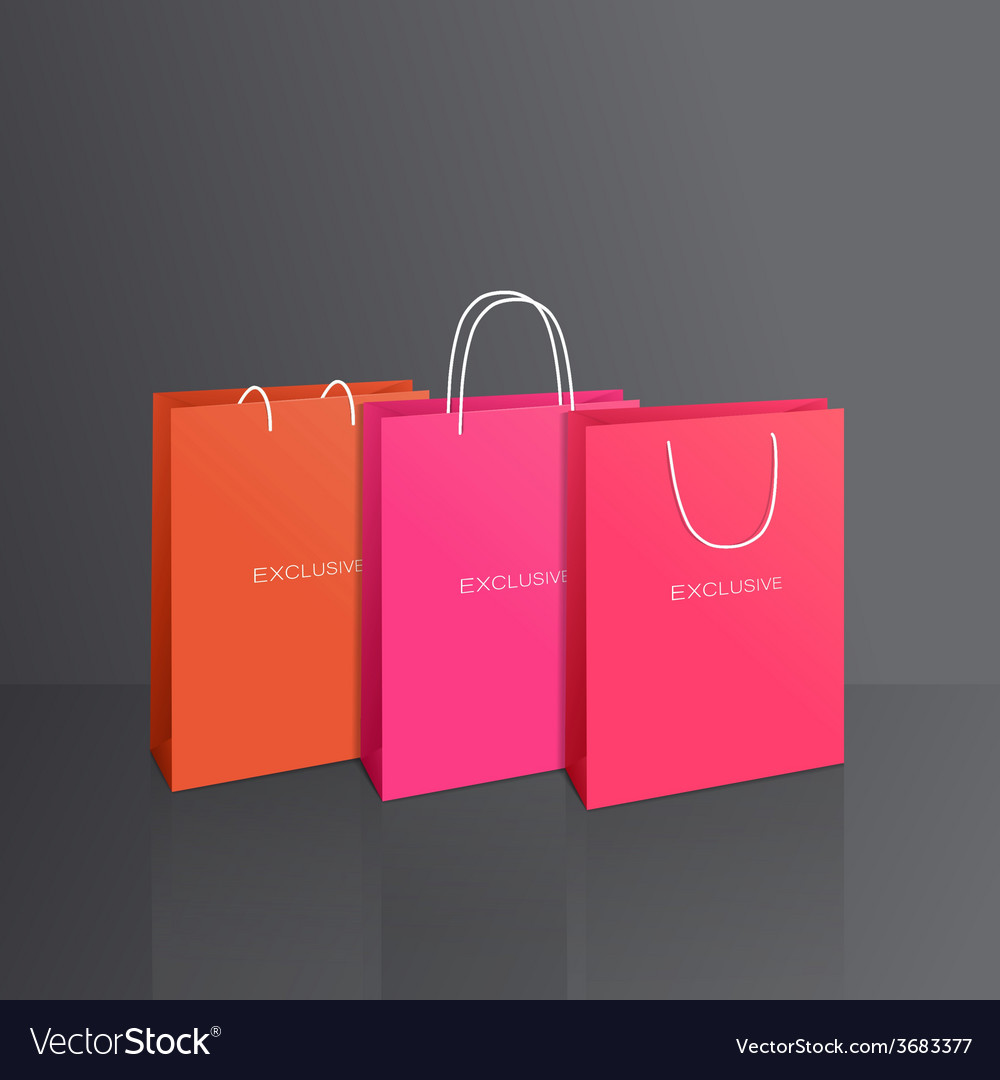 Colorful paper bags set isolated on grey vector | Price: 1 Credit (USD $1)