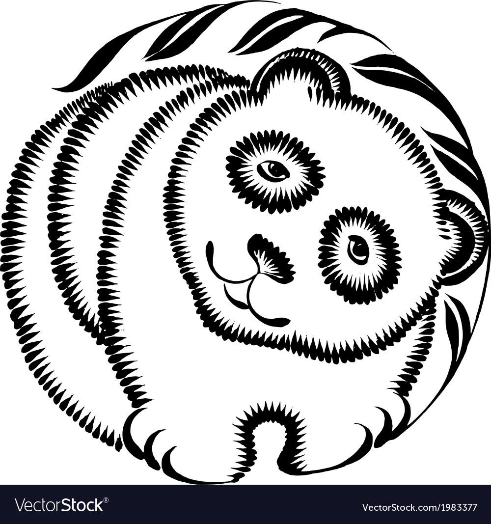 Decorative silhouette of panda vector   Price: 1 Credit (USD $1)