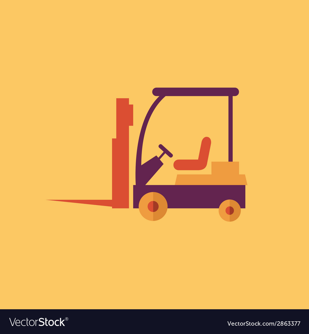 Forklift transportation flat icon vector | Price: 1 Credit (USD $1)