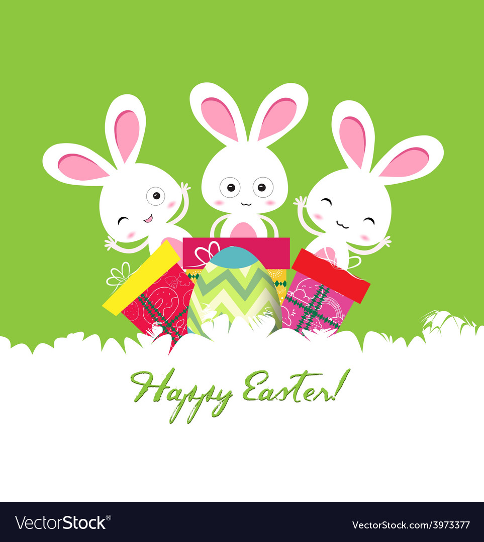 Happy easter card with egg and gifts vector   Price: 1 Credit (USD $1)