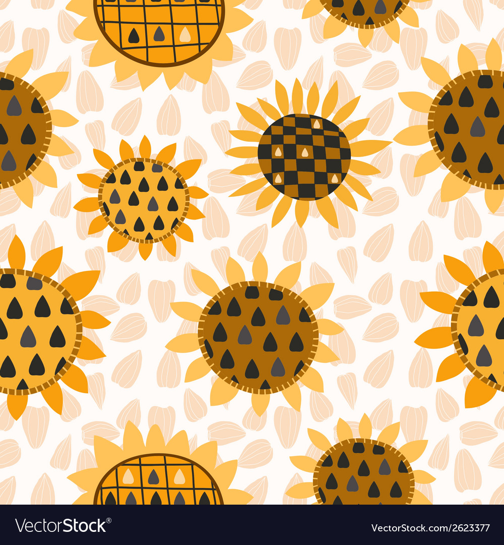 Seamless pattern with sunflower and seeds vector | Price: 1 Credit (USD $1)
